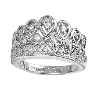 925 Sterling Silver CZ Royal Crown Ring 12MM