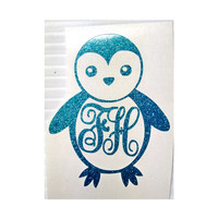 "3"" Cute Penguin Sticker in glitter vinyl with personalize initials"