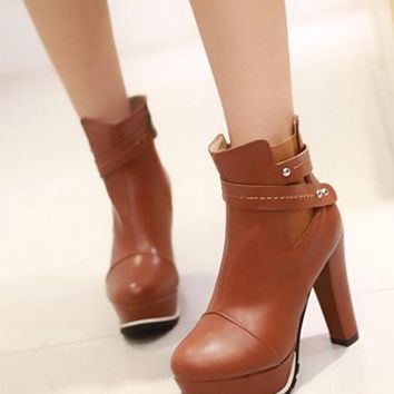 New Women Light Brown Round Toe Chunky Add Feathers Fashion Ankle Boots