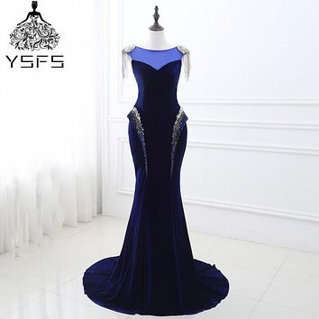 In Stock Real Pic Long Mermaid Evening Dresses Elegant Sleeveless Formal Party Prom Gown robe de soiree Lace Up Back