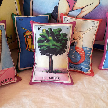 Arbol Leafy Tree Mexican Loteria Mini Pillow, Tuck Pillow or Bowl Filler - Christmas / Dia De Los Muertos / Day of the Dead