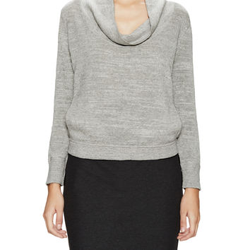 Melange Slub Draped Sweater with Pockets