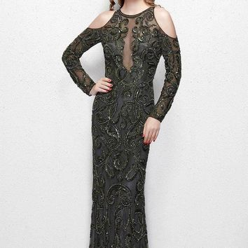 Primavera Couture - 3081 Beaded Long Sleeve Fitted Dress
