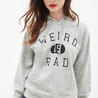 FOREVER 21 Weird Is Rad Hoodie Grey/Black