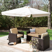8-Ft Square Offset Patio Umbrella Gazebo with Beige Canopy Shade