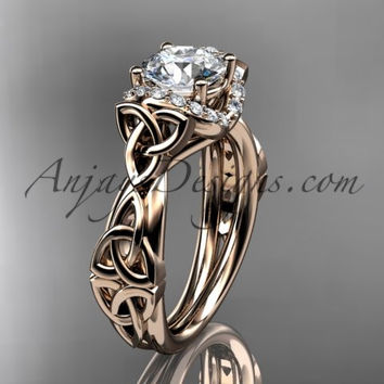 "14kt rose gold diamond celtic trinity knot wedding ring, engagement ring with a ""Forever One"" Moissanite center stone CT7289"