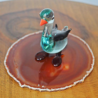 Art Glass Bird, Glass Goose On Orange Agate, Miniature Blown Glass Figurine