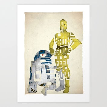 Star Wars C-3P0 and R2-D2 typography print based on a quote from the movie A New Hope Art Print by 17th and Oak