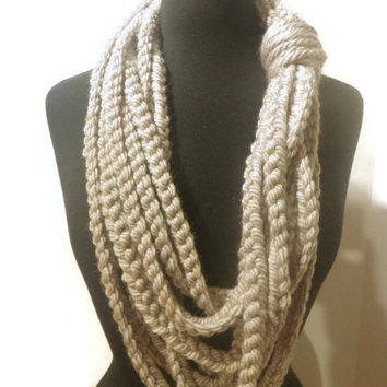Chunky rope scarf, cowl scarf, made to order you pick the color