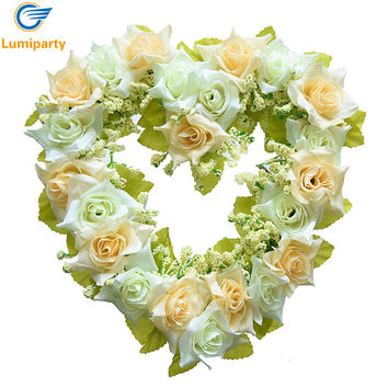 1 pcs Wedding Decoration Heart Shaped Artificial Flower Wreath Door Wall Hanging Wreaths Flowers Garland with Silk Ribbon