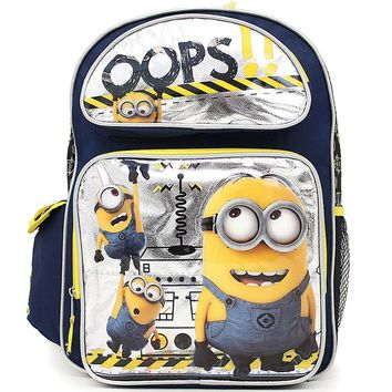 "Disney Minions OOPS!! Boys 16"" Blue & Yellow School Backpack"