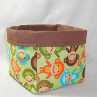 Large Monkey print fabric basket