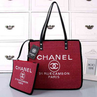 CHANEL Women Shopping Bag Beach Tote Handbag Shoulder Bag