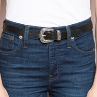 ETCHED SILVER BUCKLE BELT