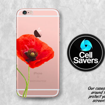 Red Poppy Clear iPhone 6s Case iPhone 6 Case iPhone 6 Plus Case iPhone 6s Plus iPhone 5c Case iPhone 5 Clear Case Flower Floral Cute Girly