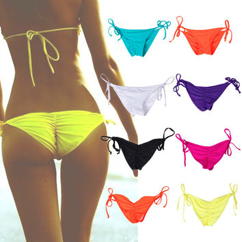Beach New Hot Sexy women swimwear brazilian Ruched Back bikini bottoms swimsuit thong beachwear Tie Side Bathing Suit