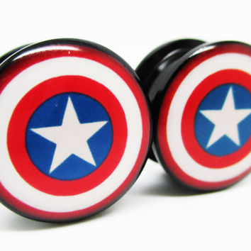 Captain America Classic Shield Ear Plugs - Acrylic Screw-On - New - 8 Sizes - The Avengers - Pair