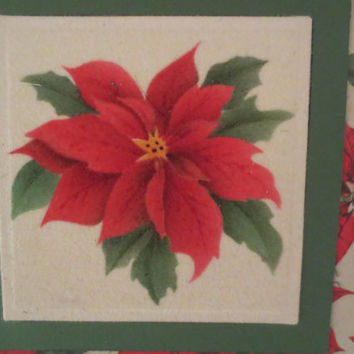 SALE - Christmas Stationery - Greeting Cards - A2 - Handmade Christmas Card with Envelope– Traditional Theorem Oil Painting – Poinsettia