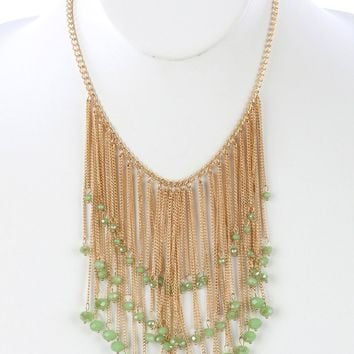 Green Long Chain Fringe Bib Iridescent Glass Bead Charm Necklace