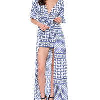 Ivory and Navy Blue Tile Print Maxi Romper