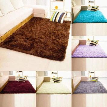 1 pc 5 colors 40x60cm polyester shaggy fluffy rugs antiskid area rug dining room