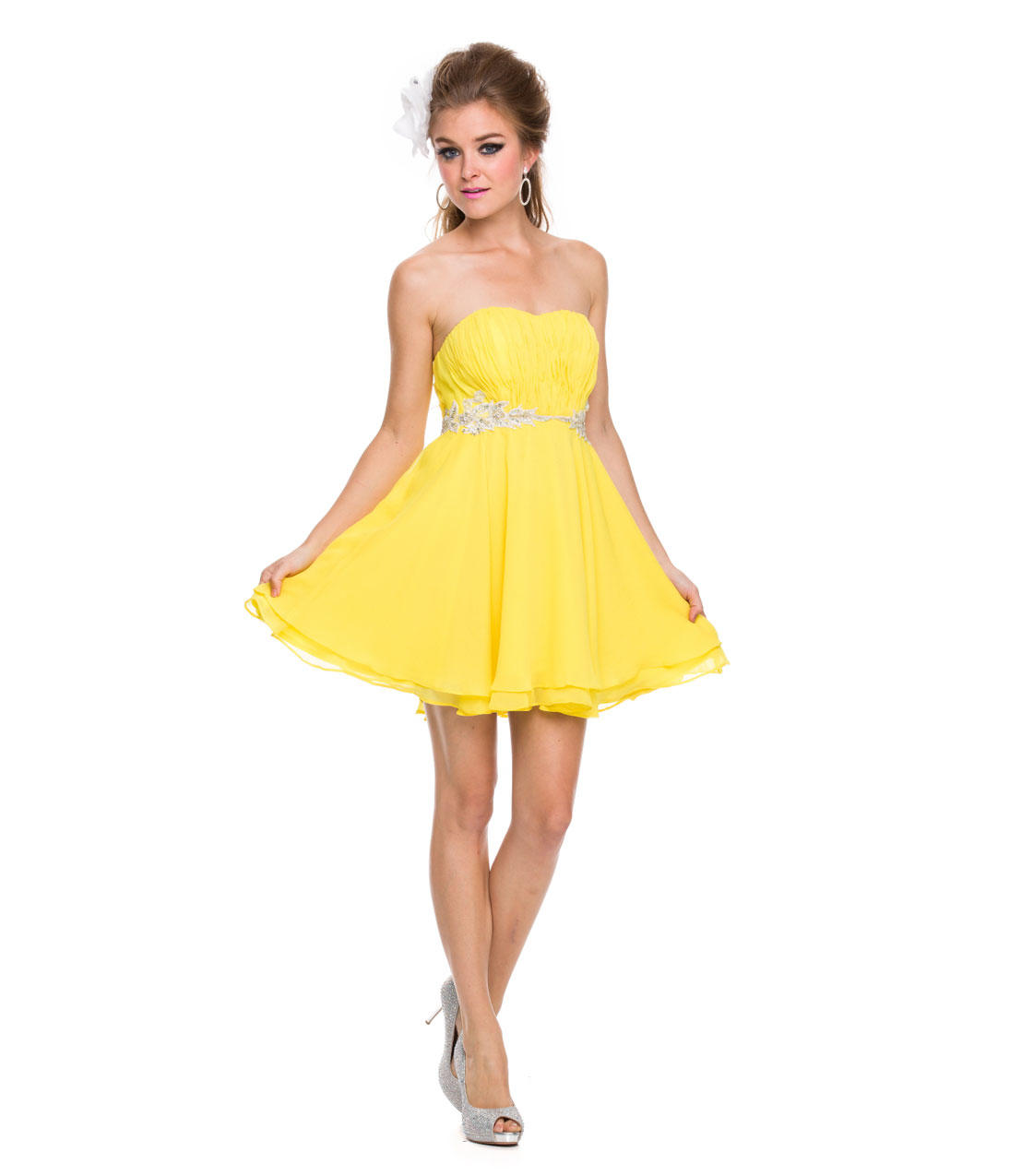 Yellow chiffon strapless short dress 2015 from unique vintage