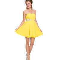 Yellow Chiffon Strapless Short Dress 2015 Prom Dresses