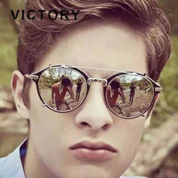 2017 Men Women Fashion Round Mirror Sun glasses Steampunk Steam punk Hip Hop Hippie rand Designer Vintage sunglasses