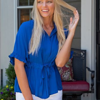 Living the Good Life Blouse : Royal Blue