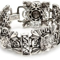 Yochi Vintage Lion Head Silver Plated Bracelet: Jewelry: Amazon.com