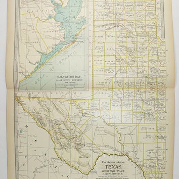 Vintage Texas Map 1899 Antique Map West Texas, Panhandle, Texas Ranch Decor, Texas Art Map, Texas Couples Gift, Galveston TX Map, Houston TX