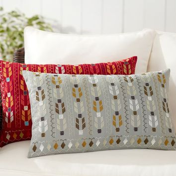 INDOOR/OUTDOOR RIA EMBROIDERED LUMBAR PILLOW