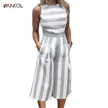 Vancol 2017 Backless o neck striped print long jumpsuit romper Women sexy loose cotton linen hollow out Summer fashion jumpsuit