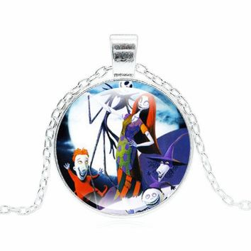 XUSHUI XJ The Nightmare Before Christmas Necklace Jack and Sally Counple Lover's Glass Pendant Silver Chain Necklaces Women Gift