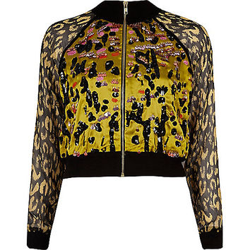 Yellow leopard print embellished shacket - shirts - tops - women