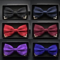 Luxurious Men's Bow Ties  Metal Angle Decoration Red Navy Blue Gold Yellow