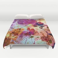 flowers and light Duvet Cover by clemm
