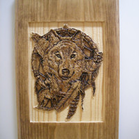 Native American - Dream Catcher Wall Art - Wolf Wood Plaque - Relief Carving Design