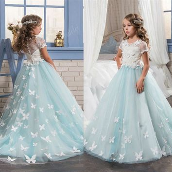 Light Blue Flower Girl Dresses Short Sleeves A-line O-Neck First Girls Communion Gown Girls Pageant Dresses Birthday Dresses