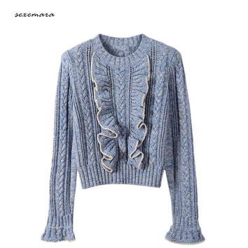sweater pullover jumper flare sleeve ruffles for women warm brand 2018 spring runway sweater wool knitted knitwear high quality