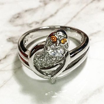 NEW 14K White Gold Layered on Sterling Silver Snake with Round Orange Stone Eyes Ring