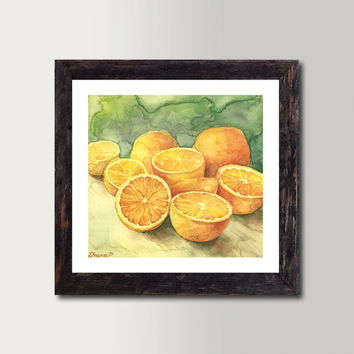 Still life Oranges Print - Watercolor Painting, Vibrant color Print, Colorful Fine Art, Gorgeous Home decor,  Realistic Painting