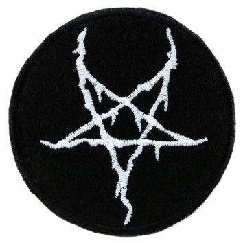 White Thorn Jagged Inverted Pentagram Patch Iron on Applique Alternative Clothing