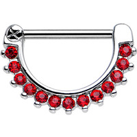 "14 Gauge 7/8"" Red Gem Glamorous Nipple Clicker 