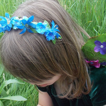 Blue Fairy Flower Garland Hair Crown with Green Leaves