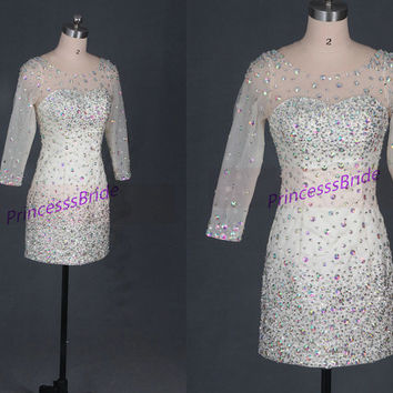 2014 short champagne prom dresses with crystals,unique long sleeves gowns for party,chic cheap homecoming dress under 200.