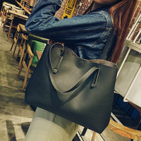 Black Women Casual Handbag Shoulder Bag Tote Purse + Free Gift  Choker