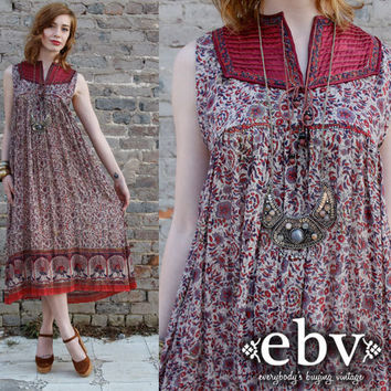 Vintage 70s India Gauze Sheer Hippie Boho Festival Tent Dress S M L