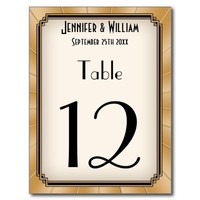 Vintage Art Deco Gatsby Style Wedding Table Number Postcards