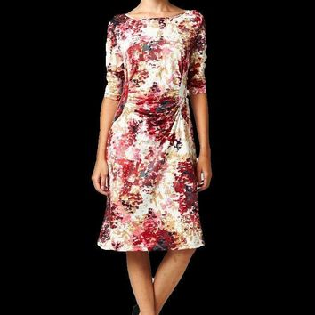 Women's 3/4 Three Quarter Sleeve Abstract Print Midi Dress